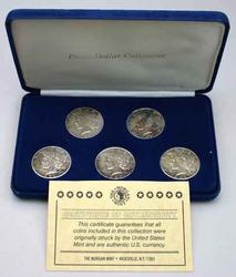 5 Coin Peace Dollar set in Morgan Mint case