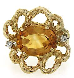Abstract Flower Ring with Citrine and Diamonds