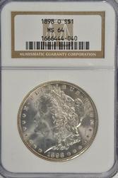 Super near Gem BU 1898-O Morgan Silver Dollar. NGC MS64