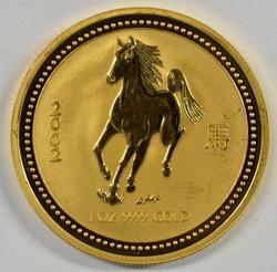 Gem BU 2002 Australia Year of the Horse .9999 1oz. Gold