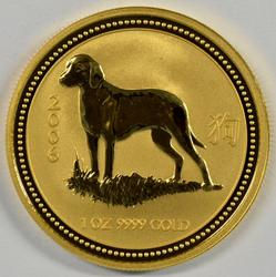 Gem BU 2006 Australia Year of the Dog .9999 1oz. Gold