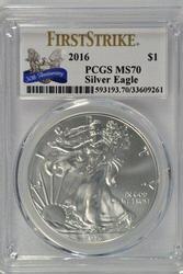 Perfect GEM BU 2016 First Strike Silver Eagle PCGS MS70