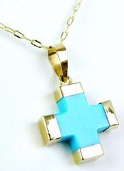 Petite 14K Gold & Turquoise Cross & Chain