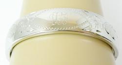 Vintage Wide Sterling Engraved Hinged Bangle