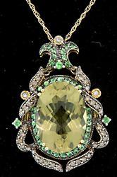 Ornate Multi Gemstone Pendant Necklace