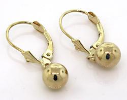 Yellow Gold 6 MM Ball Dangle Earrings