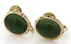 Yellow Gold Classic Jade Cabochon Earrings