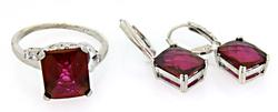 Sterling Silver Vibrant Red Stone ring and Earring Set