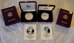1989 &1993 Proof Cameo Silver Proof Eagle with box paper