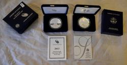 2004 &2013 Proof Cameo Silver Proof Eagle with box paper