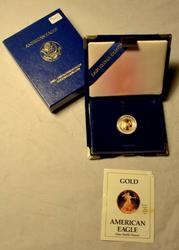 1990 Proof Gold US $5 Liberty with box and papers