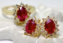 Ruby and Diamond Earring and Ring Set, 14k