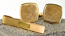 Classic 14K Cufflinks and Tie Bar