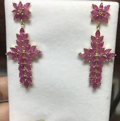 12+ Carat Ruby Cross Earrings in 14kt Gold