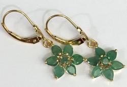 Yellow Gold Natural Emerald Dangle Earrings