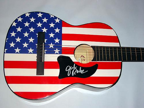 JULIE ROBERTS Autographed Signed USA FLAG Guitar UACC PSA   AFTAL