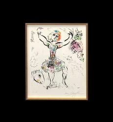 EXQUISITE HAND SIGNED MARC CHAGALL FEMALE JUGGLER 1960