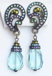 Fashionable, Antiqued Finish, Dangling Pale Blue Crystal Earrings