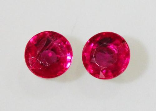 Striking Natural Burmese Ruby Pair - 0.72 ct.