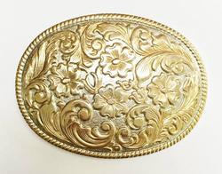 Amazing, Large, Heavy, Etched Gold Plated on Silver Plated Belt Buckle