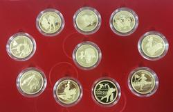 1992 France Albertville Olympics 10pc Gold Coin Set