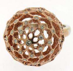Impressive  Diamond Dome Top Ring in 18K Rose Gold