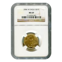 Certified Burnished $10 Gold Eagle 2006-W MS69 NGC