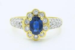 18K Yellow Gold Diamond & Sapphire Ring