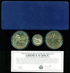 BU 1988 America in Space Commem 3-pc set with $5 Gold