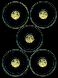 6 Pure 24KT St. Gaudens $20 Gold Miniatures in capsules