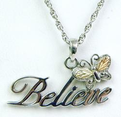 925/12K Believe Necklace with Butterfly