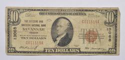 Series 1929 $10.00 Savannah, GA Charter No. 13068 National Bank Note