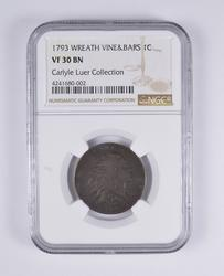 VF30BN 1793 Flowing Hair Large Cent - Wreath Rev W/ Vine/Bars - NGC Graded