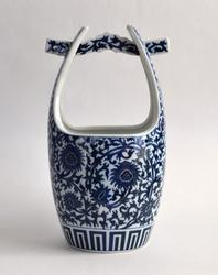 Vintage Japan Glazed Blue And White Ceramic Vase