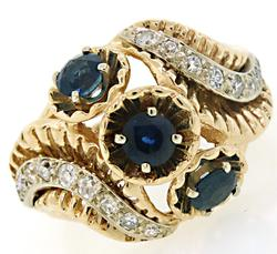 Vintage Style Sapphire & Diamond Bypass Ring