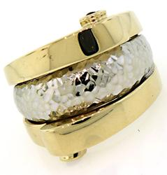 Cool Two Tone Wide Band Ring with Rubies
