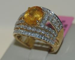Gorgeous 4+ctw Yellow Sapphire & Diamond Ring