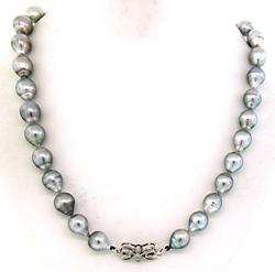 Outstanding Grey Baroque Pearl Necklace w/Diamond Clasp