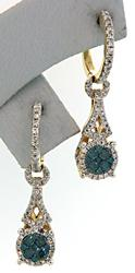 Stunning Blue & White Diamond Dangle Earrings, LGL