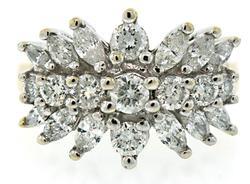 Great Looking Mixed Cut Diamond Spray Ring