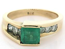 Modern Emerald & Diamond Bypass Ring