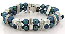 Thrilling Black Pearl, Sapphire & Diamond Bracelet 18K