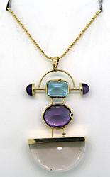 Very Contemporary Multi Gemstone Pendant Necklace