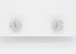 18K White Gold Cluster Diamond Earrings
