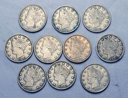 10 Assorted  Nicer 1883 No Cents V Nickels