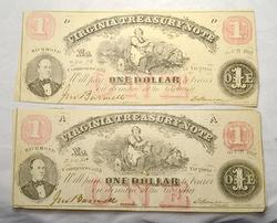 2  $1 Virginia Treasury Notes July 2 1862 Richmond