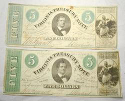 Two $5 Virginia Treasury Notes March 13 1862 Series