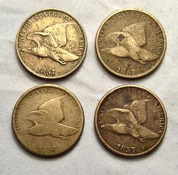 4 Assorted Flying Eagle Copper Nickel Cents