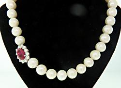 Gorgeous Pearl Necklace w/Ruby & Diamond Clasp, 18K