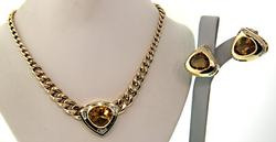 Exquisite Citrine & Diamond Necklace & Earrings Set